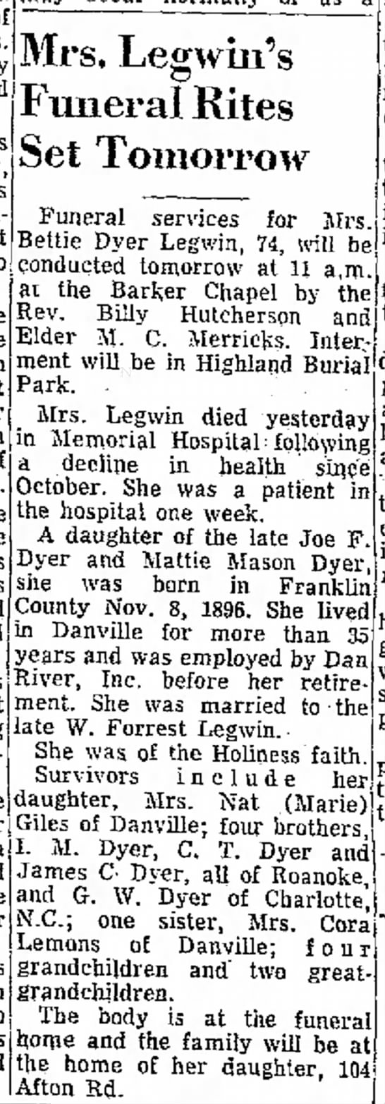 Mrs Forrest Legwin Obit - of in- it an been is Mrs, Legwin's Funeral...