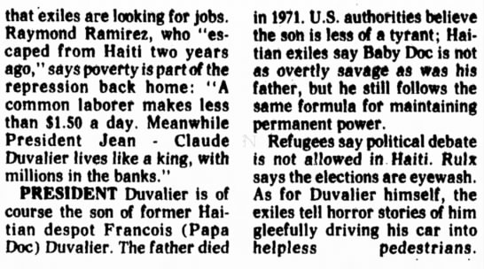 1977 - US believes Baby Doc to be less of a tyrant than Papa Doc. - that exiles are looking for jobs. Raymond...