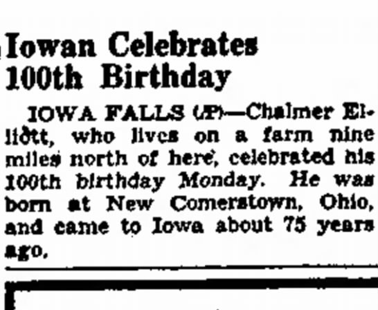 Chalmer 100th birthday - Fast? war, lowan Celebrates 100th Birthday IOWA...