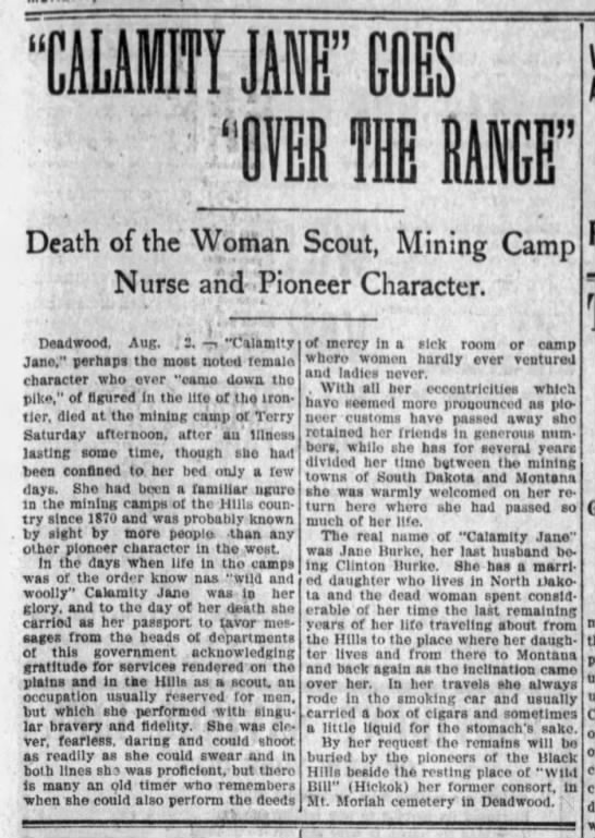 "Brief account of Calamity Jane's life as a frontierswoman - mMf If GOES IB II MB"" Death of the Woman Scout,..."