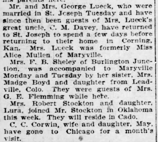 Wedding honeymoon in St. Joseph - Mr. and Mrs. George Lueck, who were married In...