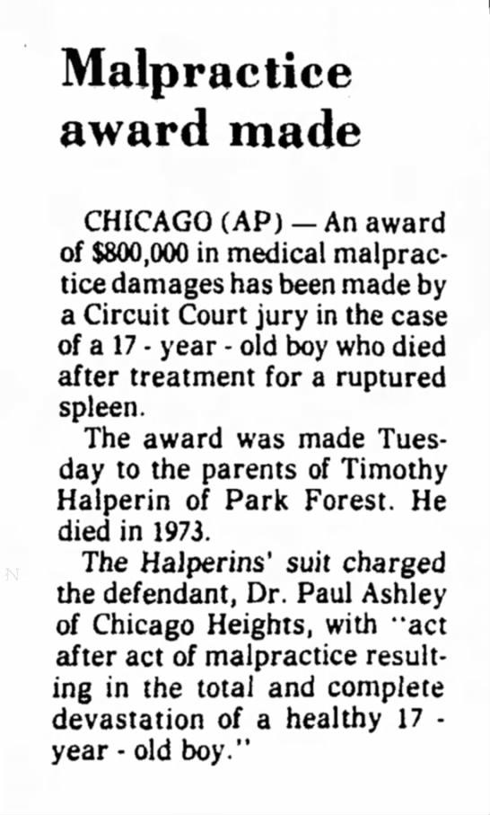 tims article - Malpractice award made CHICAGO (AP) - An award...