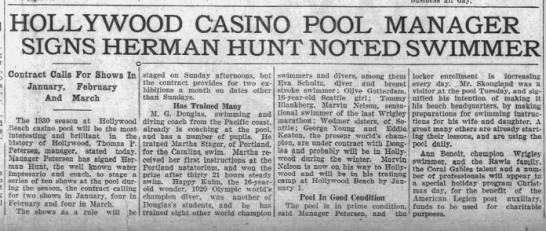 Hollywood Casino Pool Manager Signs Herman Hunt Noted Swimmer - 14-passenger HOLLYWOOD CASINO POOL MANAGER...