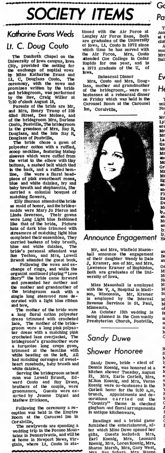 Society wedding announcement in Postville Herald, 8-29-1973 - SOCIETY ITEMS Katharine Evans Weds Lf. C. Doug...