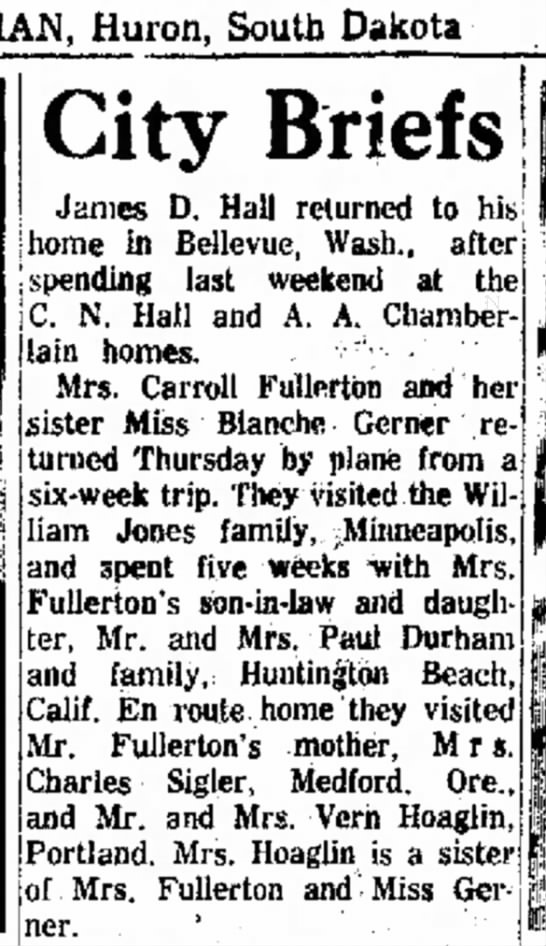 Fullerton ladies travel - 3 Feb, 1963 - Huron, South Dakota City Briefs James D. Hall...