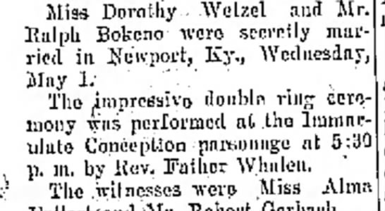 Bokeno_Ralph_Wedding 01 May 1929 The Journal News - Miss Dorothy.. Wetzel and Mr. Ralph Bokeno were...