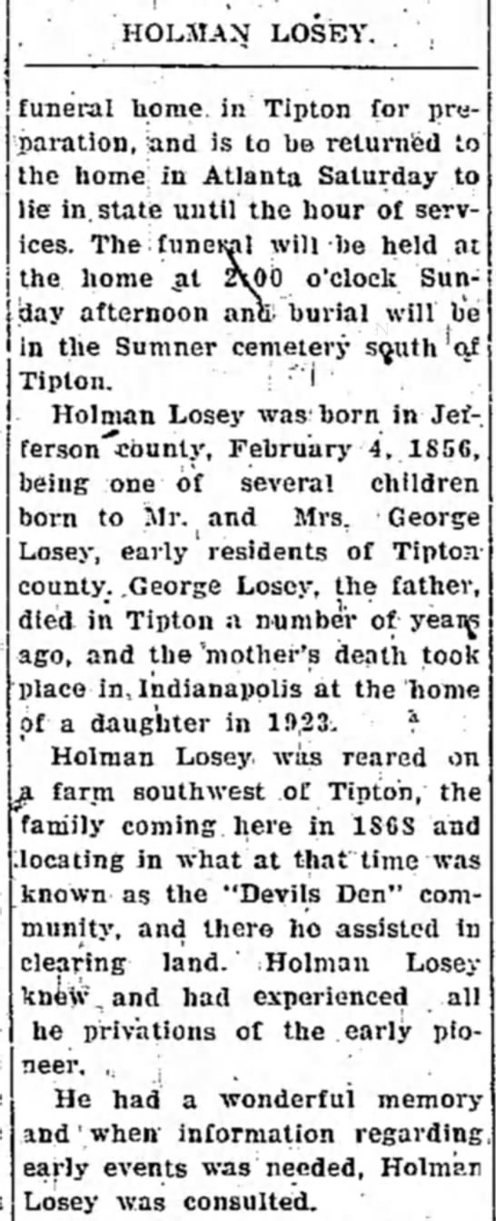 Tipton Tribune (Tipton, Indiana) March 20, 1936 - funeral home, in Tipton for preparation,...