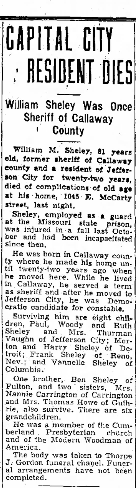 William Morton Sheley newspaper obituary - CIPIHL CITY William Sheley Was Once Sheriff of...