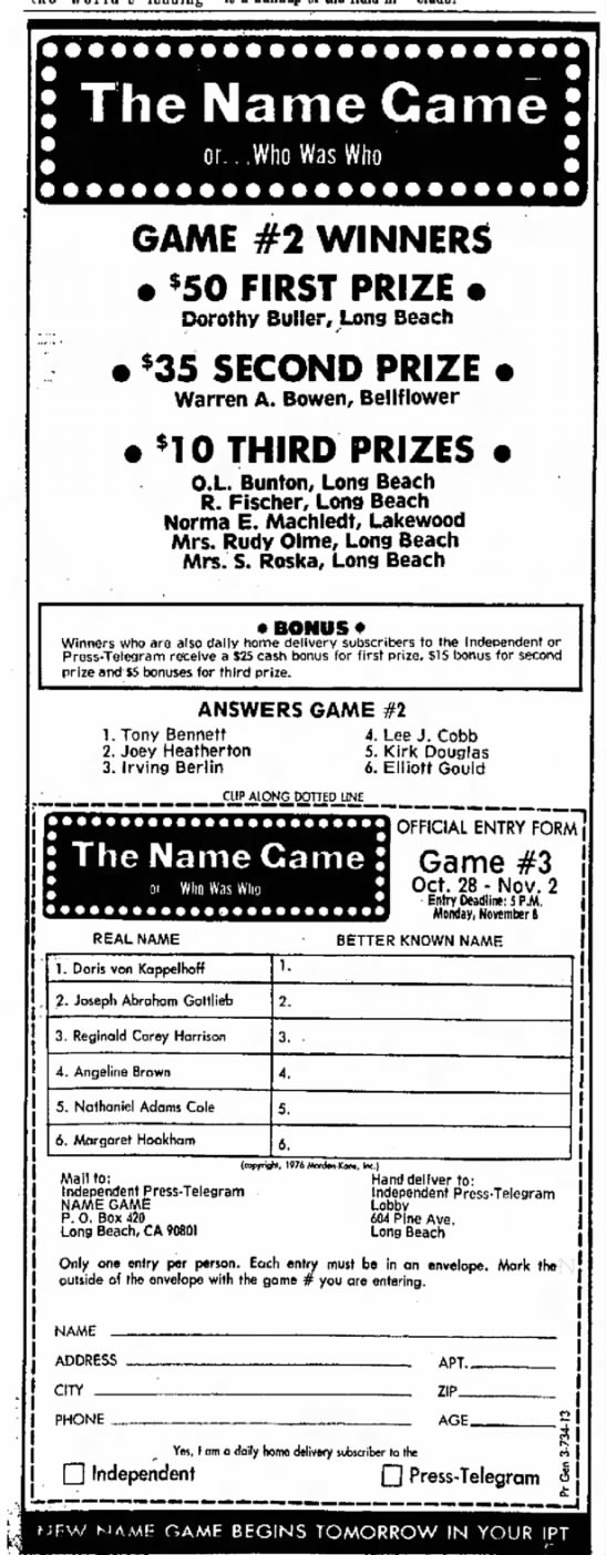 WINNER!  Mrs Rudy Olme - The Name Came o r . . .Who Was Who GAME #2...