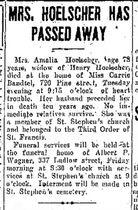 Carrie Bandtel, The Journal News, Hamilton, OH Wed. Dec. 4, 1929 p.2