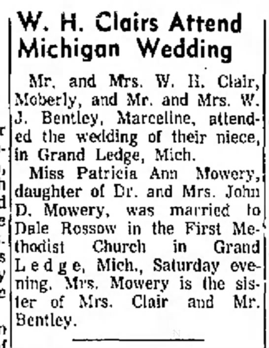 - home was gown W. H. Glairs Attend Michigan...