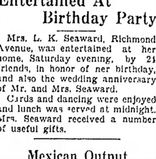 - 8--Superior Birthday Party Mrs. L. K. Seaward,...