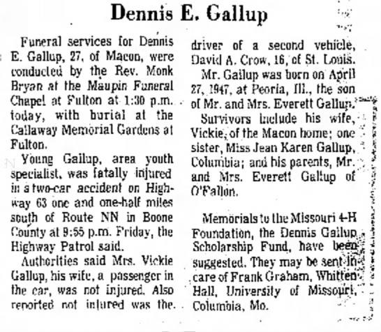 Dennis E Gallup - meet is done Dennis E. Gallup Funeral services...