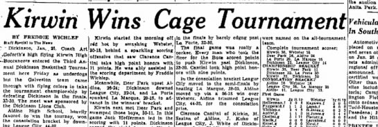 SPORTS KIRWIN 1-26-47 - Kirwin Wins Cage Tournament BT FREDDIE WICHLEP...