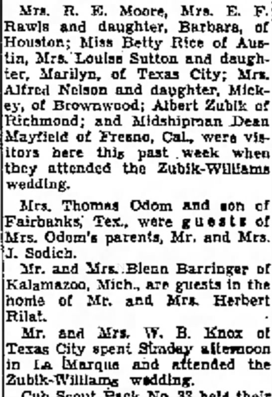 Galveston News of Zubik- Williams Wedding - a at Mrs. R. Moore, Mrs. E. F. Rawls and...