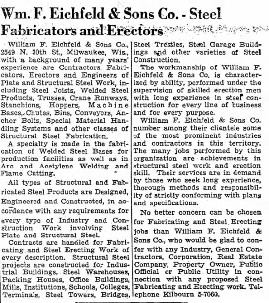 William F. Eichfeld & Sons Co. Steel Fabricators and Erectors Ad from 20 August 1949 - with type in reduced 8, Wm. F. Eichfeld Sons...
