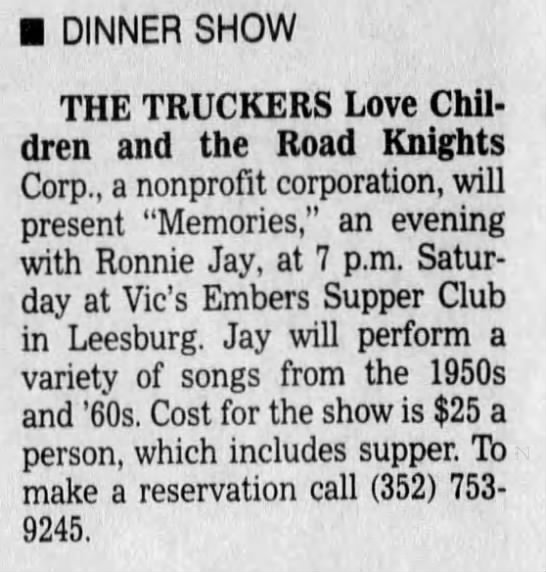 - DINNER SHOW THE TRUCKERS Love Children and the...