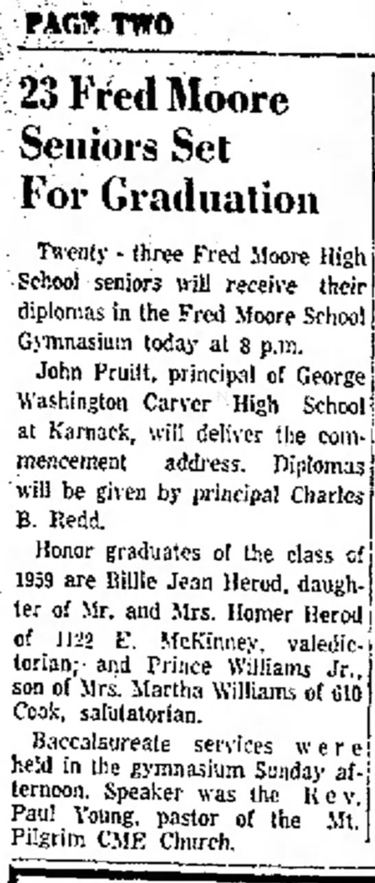 Prince Williams, Jr.  - PARS TWO 23 Fred Moore Seniors Set...