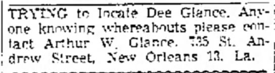 Amarillo Globe-Times 22 March 1956 - TRYING to locate Dee Glance. one knowing...