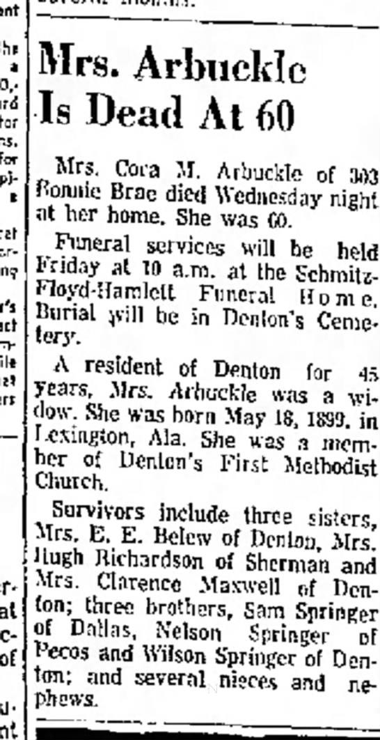 Cora M Arbuckle death notice, Aug 1959, Denton, Texas.