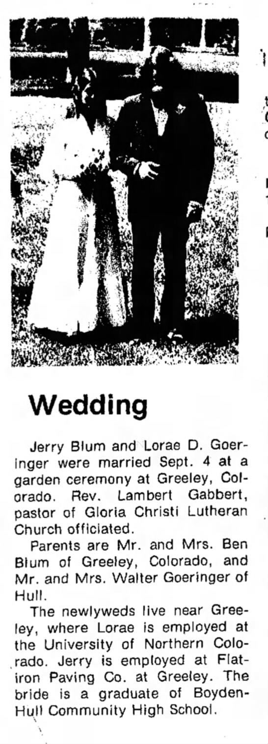 - Wedding Jerry Blum and Lorae D. Goeringer...