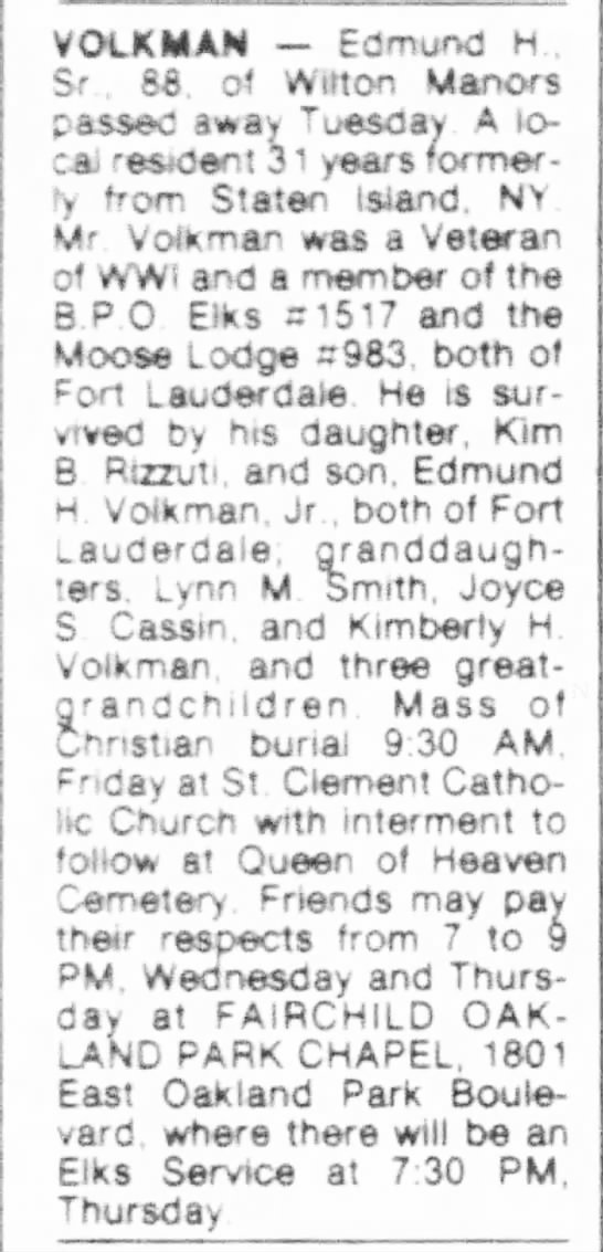 Volkman Edmund Harry Sr. obituary - VOCKMAN Edmund H , Sr , 88. of Wilton Manors...