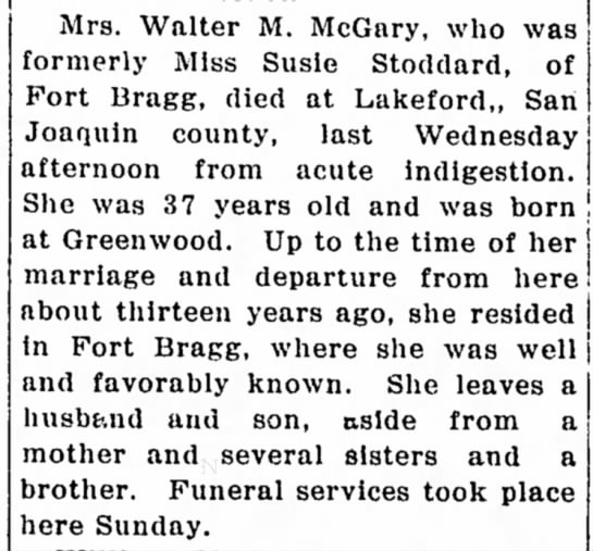 Susan Stoddard obit 1917pd - Mrs. Walter M. McGary, who was formerly Miss...