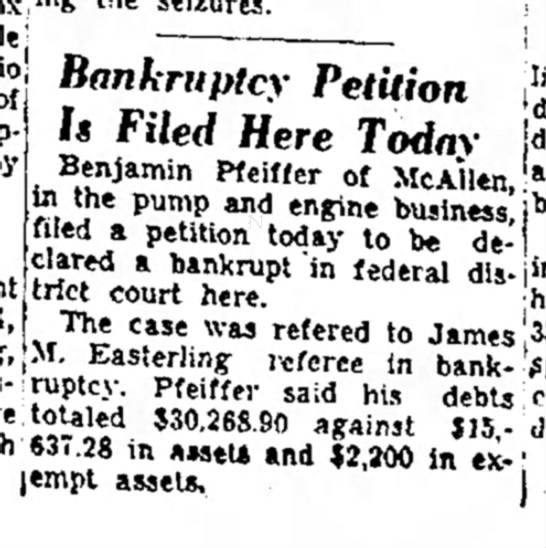 Brownsville Herald (Brownsville, Texas) 20 Oct 1953 - t:J by Petition Is Filed Here Benjamin Pfeiffer...