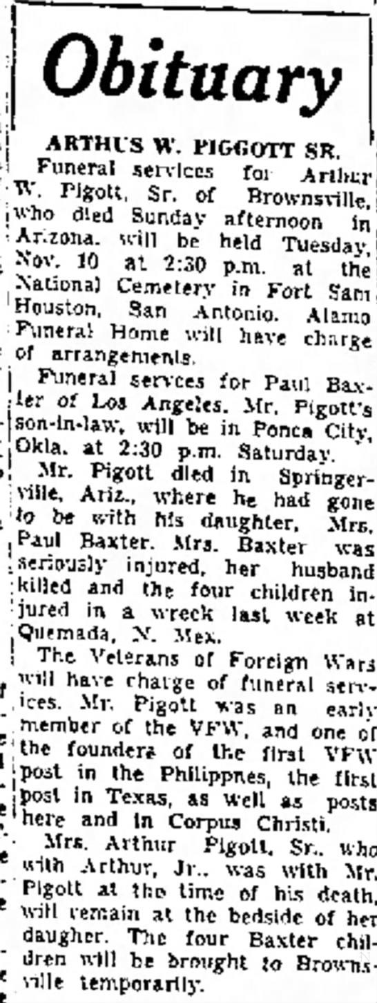 Obituary - Arthur W. Pigott, Sr. - !e la Obituary : ARTHIS w. PIGGOTT SR. ·i...