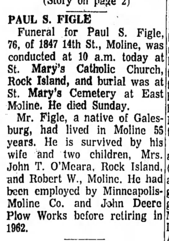 - PAUL S. FIGLE Funeral for Paul S. Figle, 76, of...