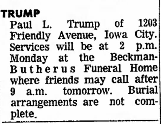 Paul L Trump funeral notice