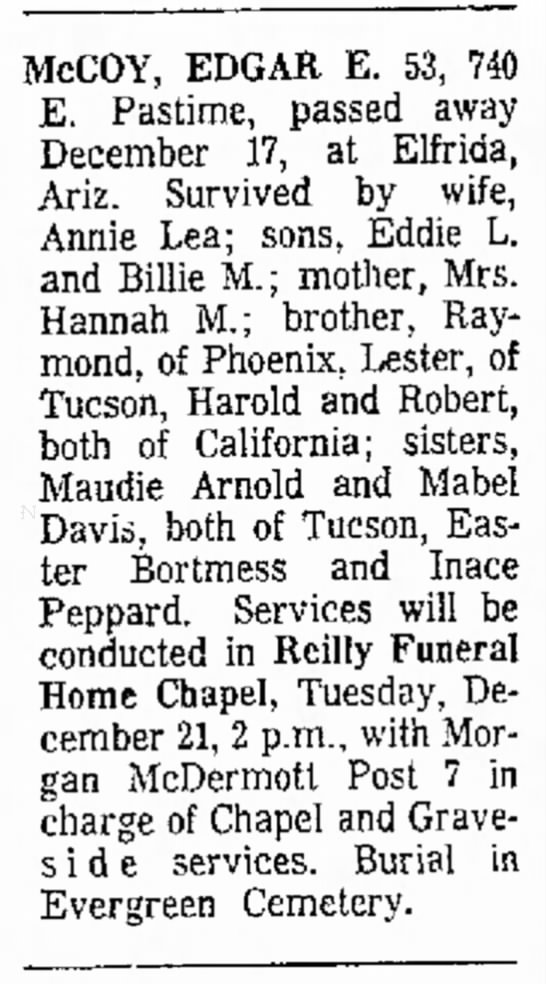 Tucson Daily Citizen, Tucson, AZ December 20 1965 - 12:X2 McCOY, EDGAR E. 53, 740 E. Pastime,...