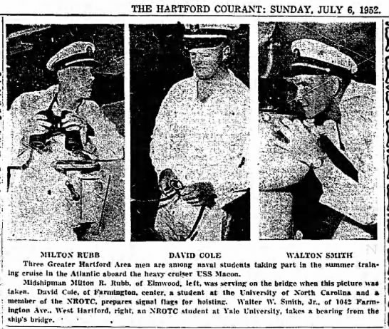 3 Greater Hartford Men serving aboard USS Macon, pub July 6 1952 - THE HARTFORD COURANT: SUNDAY, JULY 6, 1952....