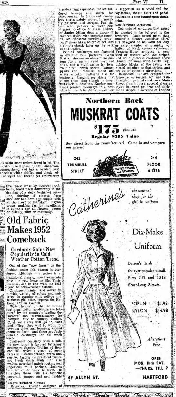 Corduroy makes 1952 comeback - 1952, Part VI 11 trend-setting trend-setting...