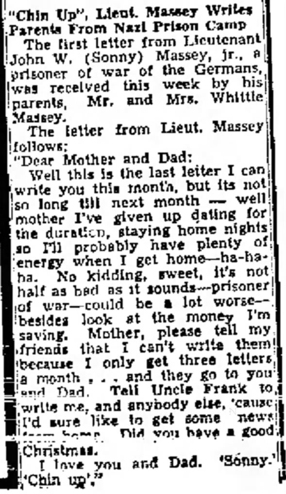 Chin Up Lieut Massey Writes Parents From Nazi Prison Camp