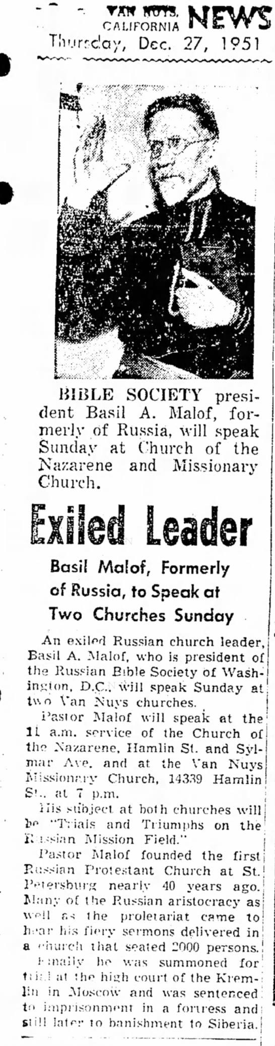 Basil Malof Dec 27 1951 - C A L I F O R N I A Tlv.irrclay, Dec. 27, 1951...