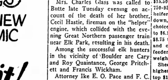 Mrs. Chas Glass brother Cecil Hastie died Nov 1929 - NEW COMIC Mrs. Charles Glass was called to;...