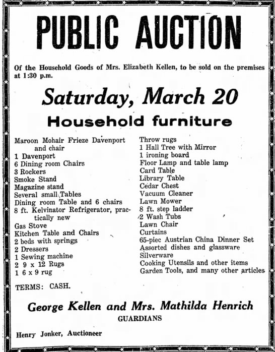 Eliz auction 18 March 1954