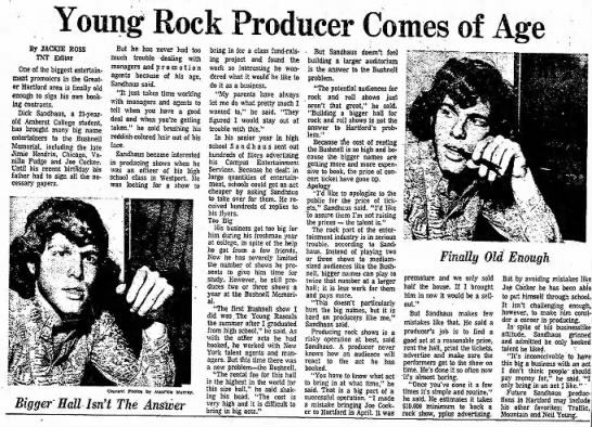 Richard Sandhaus 1970 Hartford Courant interview - Young Rock Producer Comes of Age By JACKIE ROSS...