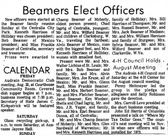 1972 Reunion - Beamers Elect Officers New officers were...