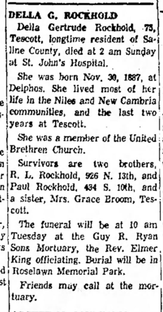 Della Rockhold obitSalina Journal9 Sep 1963
