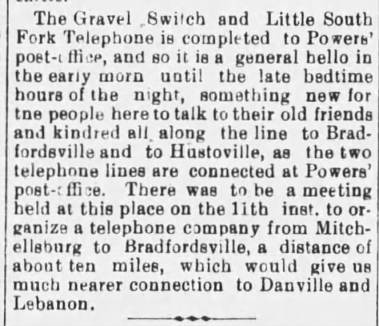 6-13-1898  Ky Adv - The Gravel .Switch and Little South Fork...