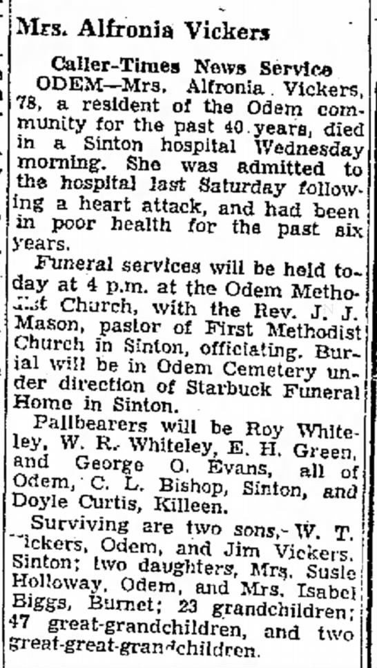 the Corpus..aller-Times (Corpus Christi, Texas) Dec. 25, 1952 page 17 - Antonio; Corpus a of Mrs. Alfronia Vickers...