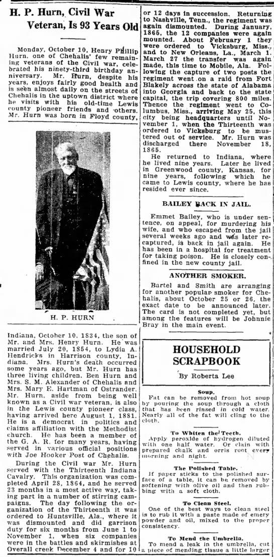 The Chehalis Bee-NuggetOctober 14, 1927 - H. P. Hum, Civil War Veteran, Is 93 Years Old...