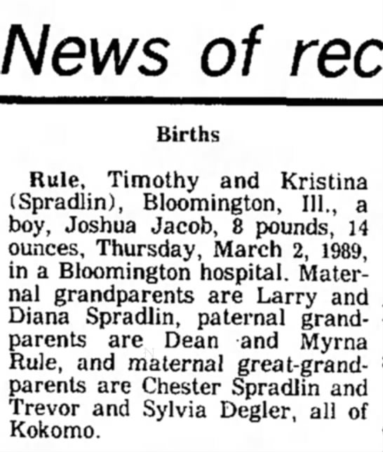 - News of Births Rule, Timothy and Kristina...