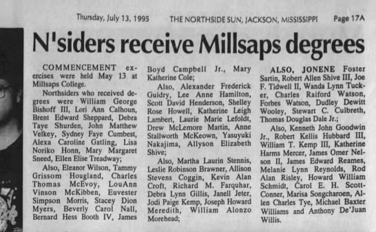Allison Coggin grads from Millsaps - Thursday, July 13, 1995 THE NORTHSIDE SUN,...