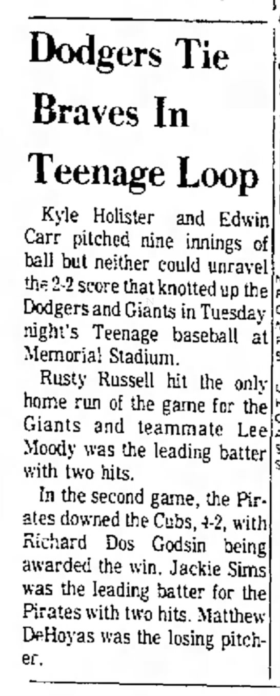 Pony League / May 31, 1972 - Dodgers Tie Braves In Teenage Loop Kyle...