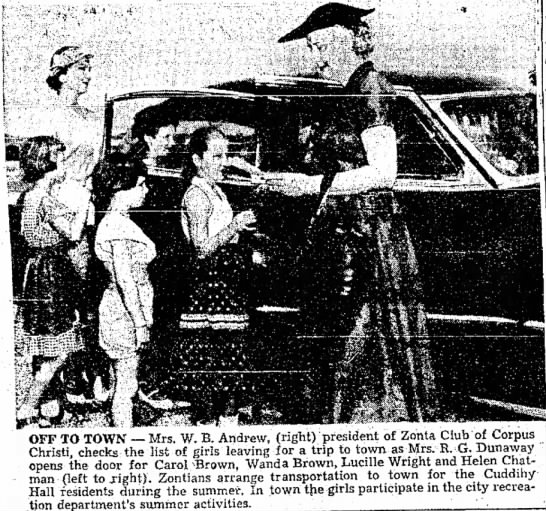 Helen Chatman - CC Caller-Times Aug 1, 1954 - OFF TO TOWN -- Mrs. W. B. Andrew, (right)...