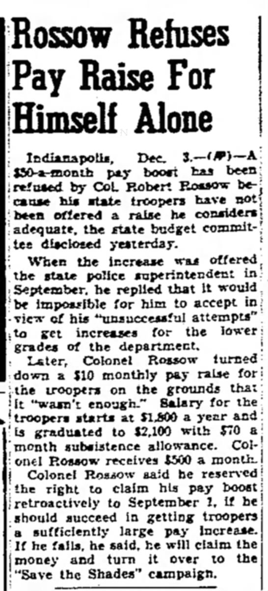 - Rossow Refuses Pay Raise For Himself Alone 3.—...