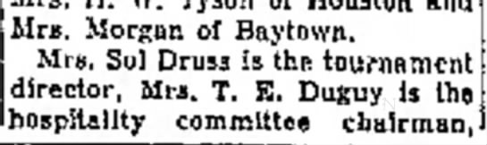 Aunt Lucy, probably typo of name 4/29/1954 - the Mrs. Morgan of Baytown. Mrs. Sol Druss Js...